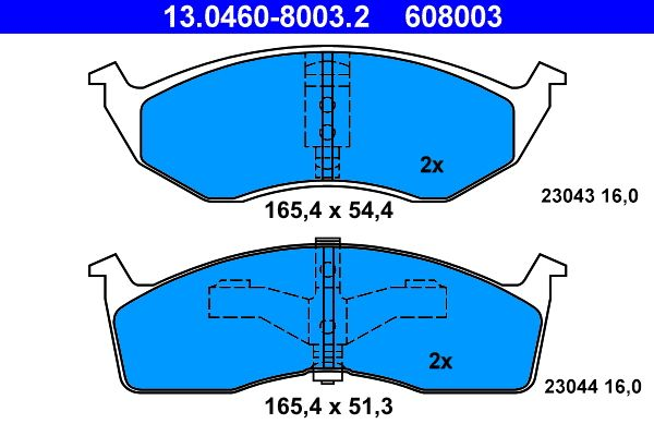 CHRYSLER NEW YORKER 1995 Bremssteine - Original ATE 13.0460-8003.2 Höhe 1: 54,4mm, Höhe 2: 51,3mm, Breite 1: 165,4mm, Breite 2: 165,4mm, Dicke/Stärke: 16,0mm