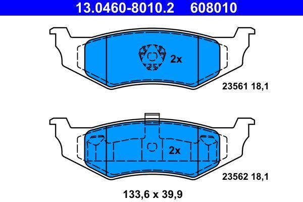CHRYSLER STRATUS 1995 Bremsklötze - Original ATE 13.0460-8010.2 Höhe: 39,9mm, Breite: 133,6mm, Dicke/Stärke: 18,1mm