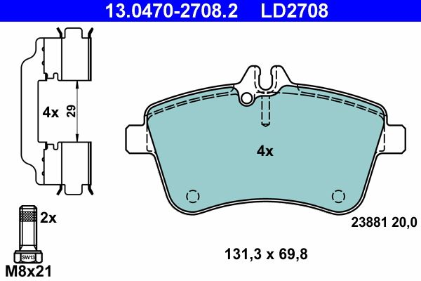 Bremsbeläge ATE 13.0470-2708.2