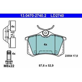 13.0470-2740.2 Bremsbelagsatz, Scheibenbremse ATE in Original Qualität