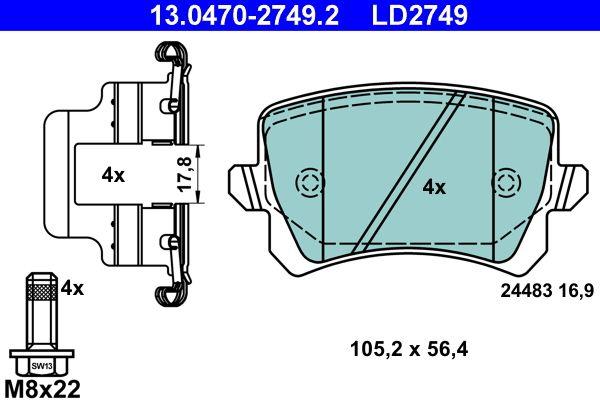 13.0470-2749.2 Bremssteine ATE in Original Qualität