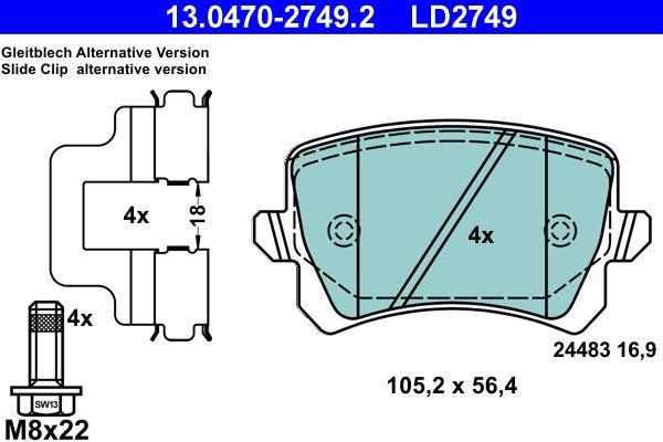 13.0470-2749.2 Brake pad set ATE original quality