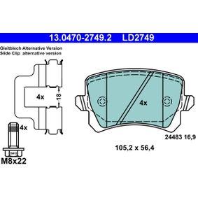 13.0470-2749.2 Piduriklotsi komplekt, ketaspidur ATE originaal kvaliteediga