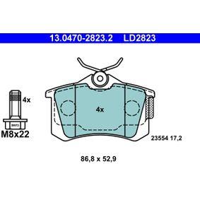 23554 ATE Ceramic exkl. Verschleißwarnkontakt, mit Bremssattelschrauben Höhe: 52,9mm, Breite: 86,8mm, Dicke/Stärke: 17,2mm Bremsbelagsatz, Scheibenbremse 13.0470-2823.2 günstig kaufen