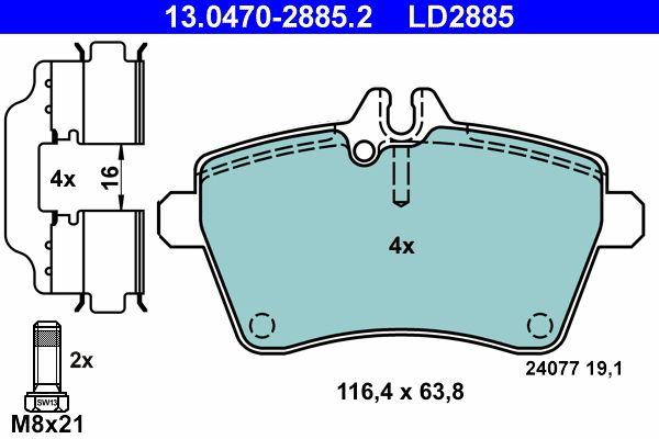 ATE 13.0470-4064.2 Ceramic Bremsbeläge Bremsbelagsatz für MERCEDES-BENZ
