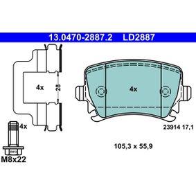 13.0470-2887.2 Bremsbelagsatz, Scheibenbremse ATE in Original Qualität