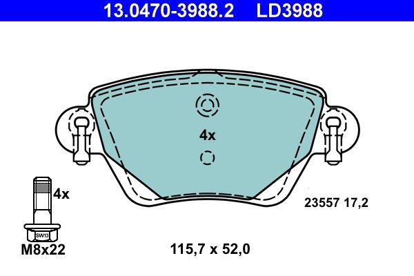 23557 ATE Ceramic exkl. Verschleißwarnkontakt, nicht für Verschleißwarnanzeiger vorbereitet, mit Bremssattelschrauben Höhe: 52mm, Breite: 115,7mm, Dicke/Stärke: 17,2mm Bremsbelagsatz, Scheibenbremse 13.0470-3988.2 günstig kaufen