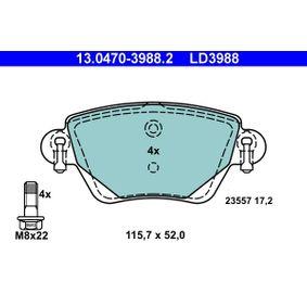 23557 ATE Ceramic nicht für Verschleißwarnanzeiger vorbereitet, exkl. Verschleißwarnkontakt, mit Bremssattelschrauben Höhe: 52mm, Breite: 115,7mm, Dicke/Stärke: 17,2mm Bremsbelagsatz, Scheibenbremse 13.0470-3988.2 günstig kaufen