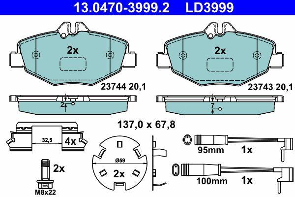 13.0470-3999.2 Bremssteine ATE in Original Qualität
