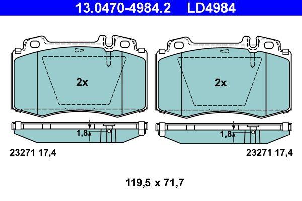23271 ATE Ceramic exkl. Verschleißwarnkontakt, für Verschleißwarnanzeiger vorbereitet Höhe: 71,7mm, Breite: 119,5mm, Dicke/Stärke: 17,4mm Bremsbelagsatz, Scheibenbremse 13.0470-4984.2 günstig kaufen