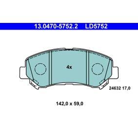 24632 ATE Ceramic exkl. Verschleißwarnkontakt Höhe: 59,0mm, Breite: 142,0mm, Dicke/Stärke: 17,0mm Bremsbelagsatz, Scheibenbremse 13.0470-5752.2 günstig kaufen