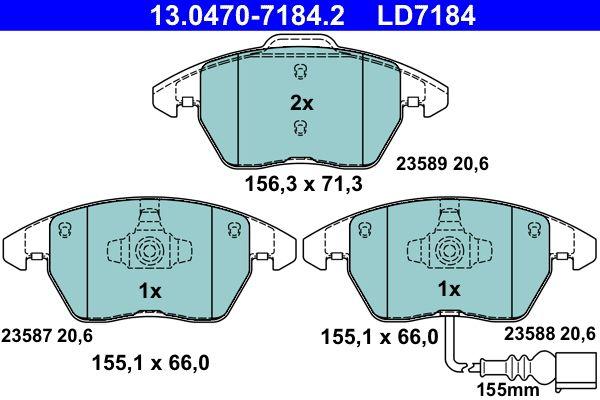 13.0470-7184.2 Komplet zavornih oblog, ploscne (kolutne) zavore ATE - Znižane cene