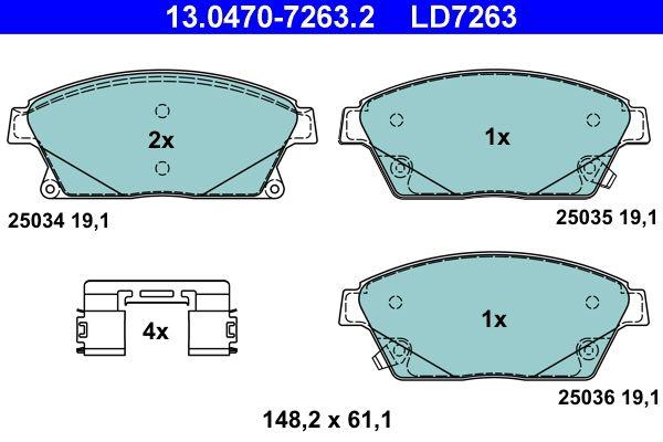 13.0470-7263.2 Bremsbelagsatz, Scheibenbremse ATE Test