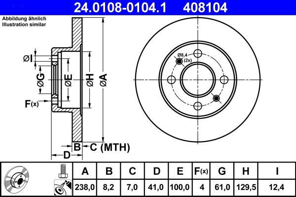 408104 ATE Voll, beschichtet, mit Schrauben Ø: 238,0mm, Lochanzahl: 4, Bremsscheibendicke: 8,2mm Bremsscheibe 24.0108-0104.1 günstig kaufen