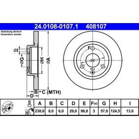408107 ATE Voll, beschichtet, mit Schrauben Ø: 238,0mm, Lochanzahl: 3, Bremsscheibendicke: 8,0mm Bremsscheibe 24.0108-0107.1 günstig kaufen