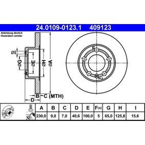 409123 ATE plný, nater, se srouby R: 230,0mm, Pocet der: 5, Zesileny brzdovy kotouc: 9,0mm Brzdový kotouč 24.0109-0123.1 kupte si levně