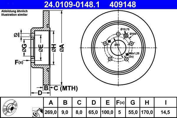 Bremsscheiben Celica 6 hinten und vorne 1994 - ATE 24.0109-0148.1 (Ø: 269,0mm, Lochanzahl: 5, Bremsscheibendicke: 9,0mm)