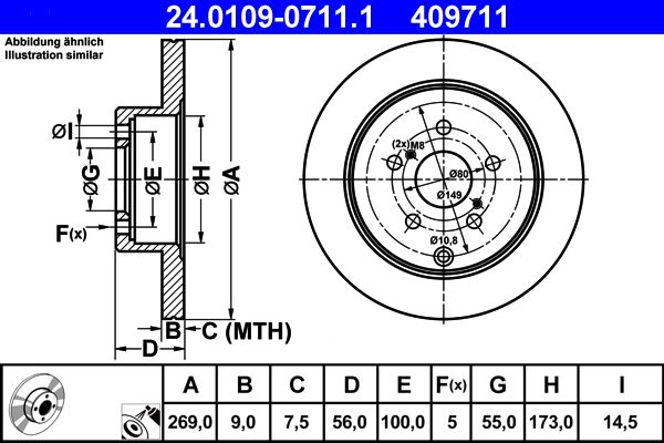 Scheibenbremsen Toyota Celica T23 hinten und vorne 2002 - ATE 24.0109-0711.1 (Ø: 269,0mm, Lochanzahl: 5, Bremsscheibendicke: 9,0mm)