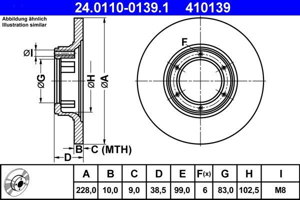 Achetez Disque ATE 24.0110-0139.1 (Ø: 228,0mm, Nbre de trous: 6, Épaisseur du disque de frein: 10,0mm) à un rapport qualité-prix exceptionnel