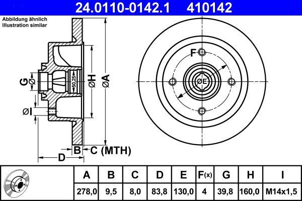 Achetez Disque ATE 24.0110-0142.1 (Ø: 278,0mm, Nbre de trous: 4, Épaisseur du disque de frein: 9,5mm) à un rapport qualité-prix exceptionnel