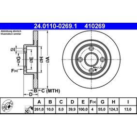 410269 ATE Voll, beschichtet Ø: 261,0mm, Lochanzahl: 4, Bremsscheibendicke: 10,0mm Bremsscheibe 24.0110-0269.1 günstig kaufen