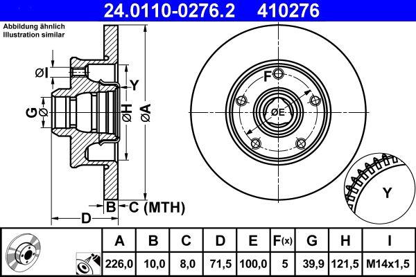 24.0110-0276.2 Bremsscheibe ATE in Original Qualität