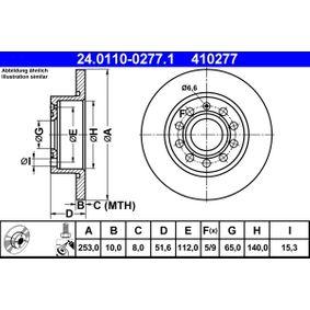 410277 ATE Voll, beschichtet, mit Schrauben Ø: 253,0mm, Lochanzahl: 5, Bremsscheibendicke: 10,0mm Bremsscheibe 24.0110-0277.1 kaufen