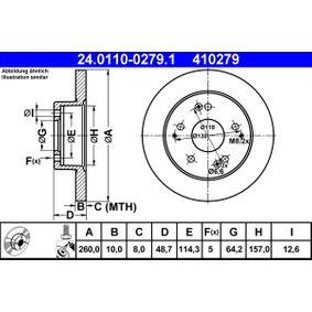410279 ATE Voll, beschichtet, mit Schrauben Ø: 260,0mm, Lochanzahl: 5, Bremsscheibendicke: 10,0mm Bremsscheibe 24.0110-0279.1 günstig kaufen