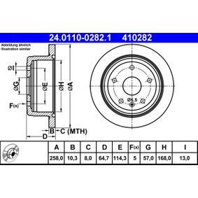 410282 ATE Voll Ø: 258,0mm, Lochanzahl: 5, Bremsscheibendicke: 10,3mm Bremsscheibe 24.0110-0282.1 günstig kaufen