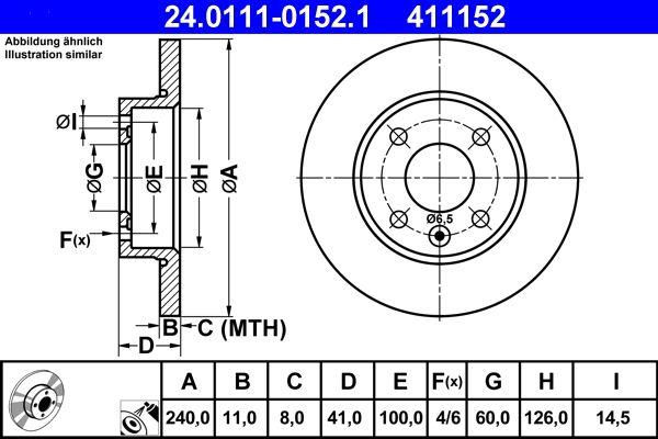 411152 ATE Voll, beschichtet Ø: 240,0mm, Lochanzahl: 4, Bremsscheibendicke: 11,0mm Bremsscheibe 24.0111-0152.1 günstig kaufen
