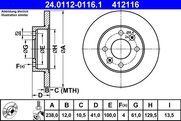 24.0112-0116.1 Scheibenbremsen ATE - Markenprodukte billig