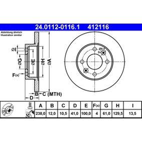 24.0112-0116.1 Bremsscheibe ATE - Markenprodukte billig