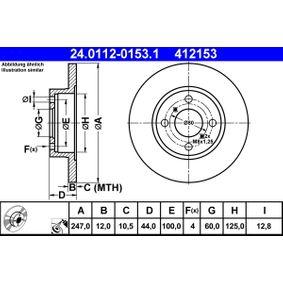 412153 ATE Voll, beschichtet Ø: 247,0mm, Lochanzahl: 4, Bremsscheibendicke: 12,0mm Bremsscheibe 24.0112-0153.1 günstig kaufen