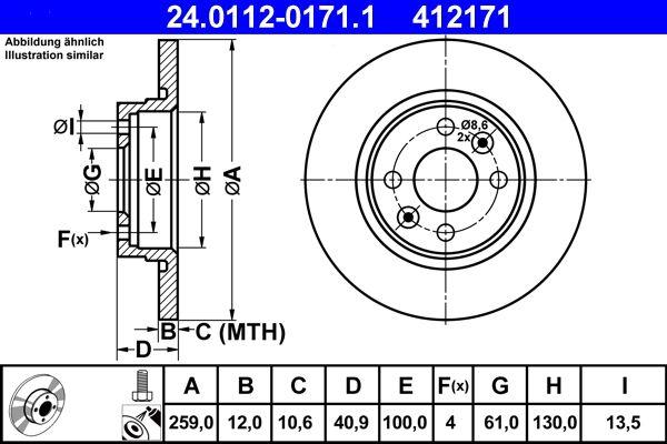 24.0112-0171.1 Scheibenbremsen ATE - Markenprodukte billig