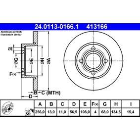 413166 ATE Solid, belagd Ø: 256,0mm, Hålant.: 4, Bromsskivetjocklek: 13,0mm Bromsskiva 24.0113-0166.1 köp lågt pris