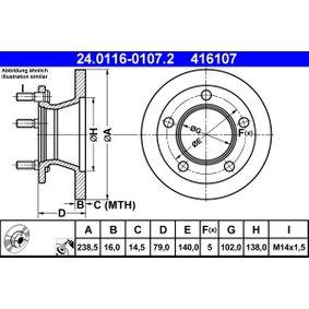 Disco de freno 24.0116-0107.2 MERCEDES-BENZ 100 a un precio bajo, ¡comprar ahora!