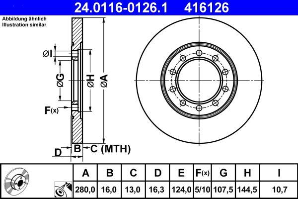 Купете 416126 ATE плътен, с покритие Ø: 280,0мм, брой на дупките: 5, дебелина на спирачния диск: 16,0мм Спирачен диск 24.0116-0126.1 евтино