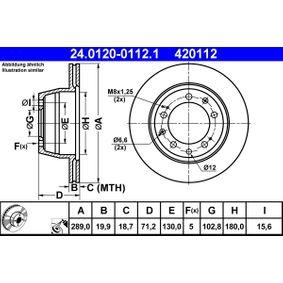 420112 ATE belüftet, beschichtet, legiert/hochgekohlt Ø: 289,0mm, Lochanzahl: 5, Bremsscheibendicke: 19,9mm Bremsscheibe 24.0120-0112.1 günstig kaufen