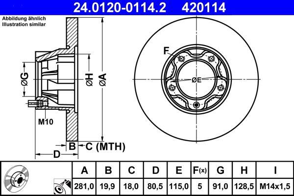 Achetez Disque ATE 24.0120-0114.2 (Ø: 281,0mm, Nbre de trous: 5, Épaisseur du disque de frein: 19,9mm) à un rapport qualité-prix exceptionnel