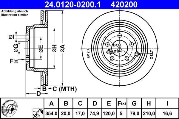 420200 ATE belüftet, beschichtet, legiert/hochgekohlt Ø: 354,0mm, Lochanzahl: 5, Bremsscheibendicke: 20,0mm Bremsscheibe 24.0120-0200.1 günstig kaufen