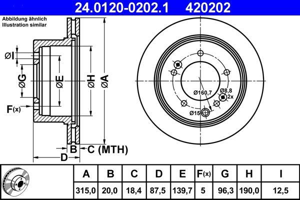 420202 ATE belüftet Ø: 315,0mm, Lochanzahl: 5, Bremsscheibendicke: 20,0mm Bremsscheibe 24.0120-0202.1 günstig kaufen