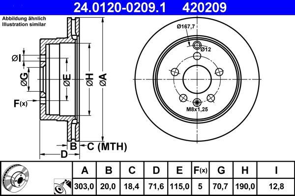 CHEVROLET CAPTIVA 2015 Bremsscheibe - Original ATE 24.0120-0209.1 Ø: 303,0mm, Lochanzahl: 5, Bremsscheibendicke: 20,0mm