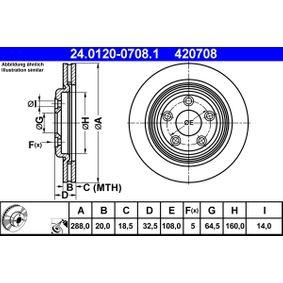 420708 ATE belüftet, beschichtet Ø: 288,0mm, Lochanzahl: 5, Bremsscheibendicke: 20,0mm Bremsscheibe 24.0120-0708.1 günstig kaufen