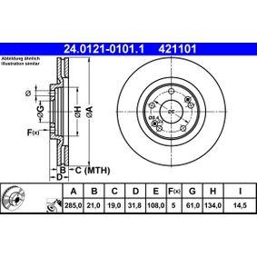 421101 ATE belüftet, beschichtet Ø: 285,0mm, Lochanzahl: 5, Bremsscheibendicke: 21,0mm Bremsscheibe 24.0121-0101.1 günstig kaufen