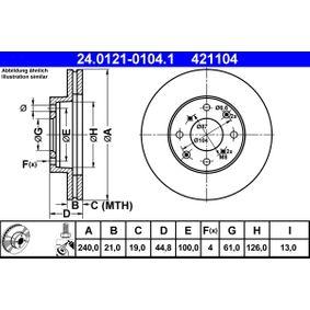 421104 ATE belüftet, beschichtet, mit Schrauben Ø: 240,0mm, Lochanzahl: 4, Bremsscheibendicke: 21,0mm Bremsscheibe 24.0121-0104.1 günstig kaufen