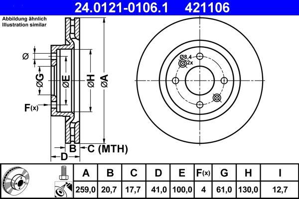 24.0121-0106.1 Stabdžių diskas ATE - Pigus kokybiški produktai
