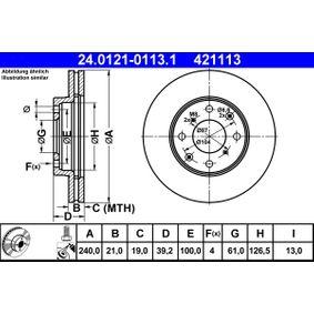 421113 ATE belüftet, beschichtet, mit Schrauben Ø: 240,0mm, Lochanzahl: 4, Bremsscheibendicke: 21,0mm Bremsscheibe 24.0121-0113.1 günstig kaufen