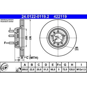 Brake Disc 24.0122-0119.2 for ALFA ROMEO 75 at a discount — buy now!