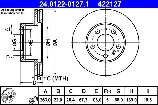 VOLVO 240 1989 Scheibenbremsen - Original ATE 24.0122-0127.1 Ø: 263,0mm, Lochanzahl: 5, Bremsscheibendicke: 22,0mm