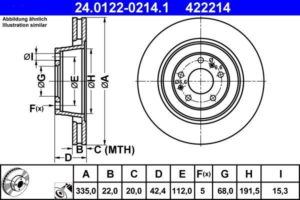 Achetez Disque ATE 24.0122-0214.1 (Ø: 335,0mm, Nbre de trous: 5, Épaisseur du disque de frein: 22,0mm) à un rapport qualité-prix exceptionnel